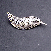 Artisan Made Silver Leaf Pin/Brooch with Swirls