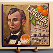 ~Lincoln~Orange crate Ad label 1930 ~Original~ Unused Mint