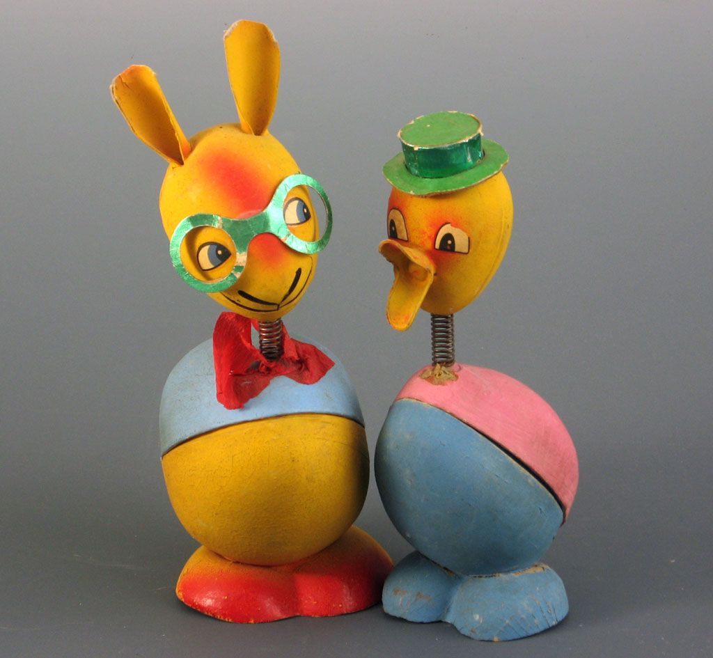 Rabbit Chick Easter Nodder Candy Containers ~2~Germany