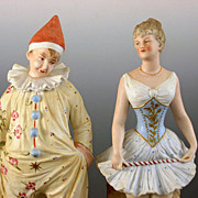 Heubach  Acrobat and Clown figurines ~Charming Circus Costumes. ~Unusual Pair~