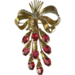 Vintage Red Stone Floral Spray Brooch