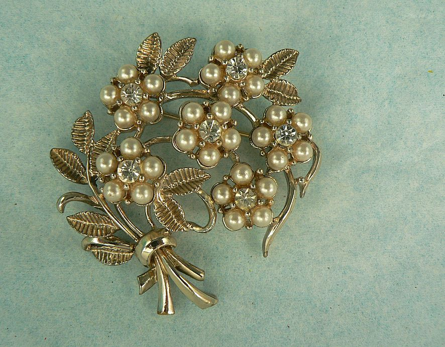 Vintage Coro Floral Spray Brooch