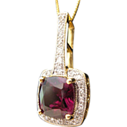 Estate Garnet Diamond Pendant 14kt
