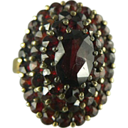 SALE Victorian Revival Garnet & 14kt gold Ring - circa 1940