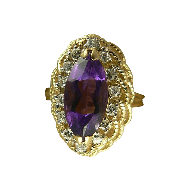 Gorgeous Amethyst Diamond Estate Ring