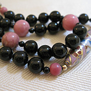 Cloisonne Black Onyx Beaded Necklace