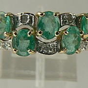 Estate 14kt  Emerald Diamond Band Ring