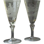 A pair of engraved German Glasses ,18th Century