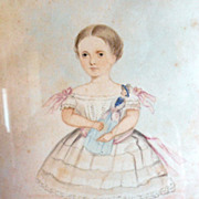 Miniature 1860 Georgian Folk Art  Portrait Watercolor Child Holding Antique Doll