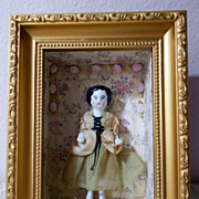 "SOLD 5 3/4"" Frozen Charlotte Charlie China doll W/ great Shadow Box Frame"