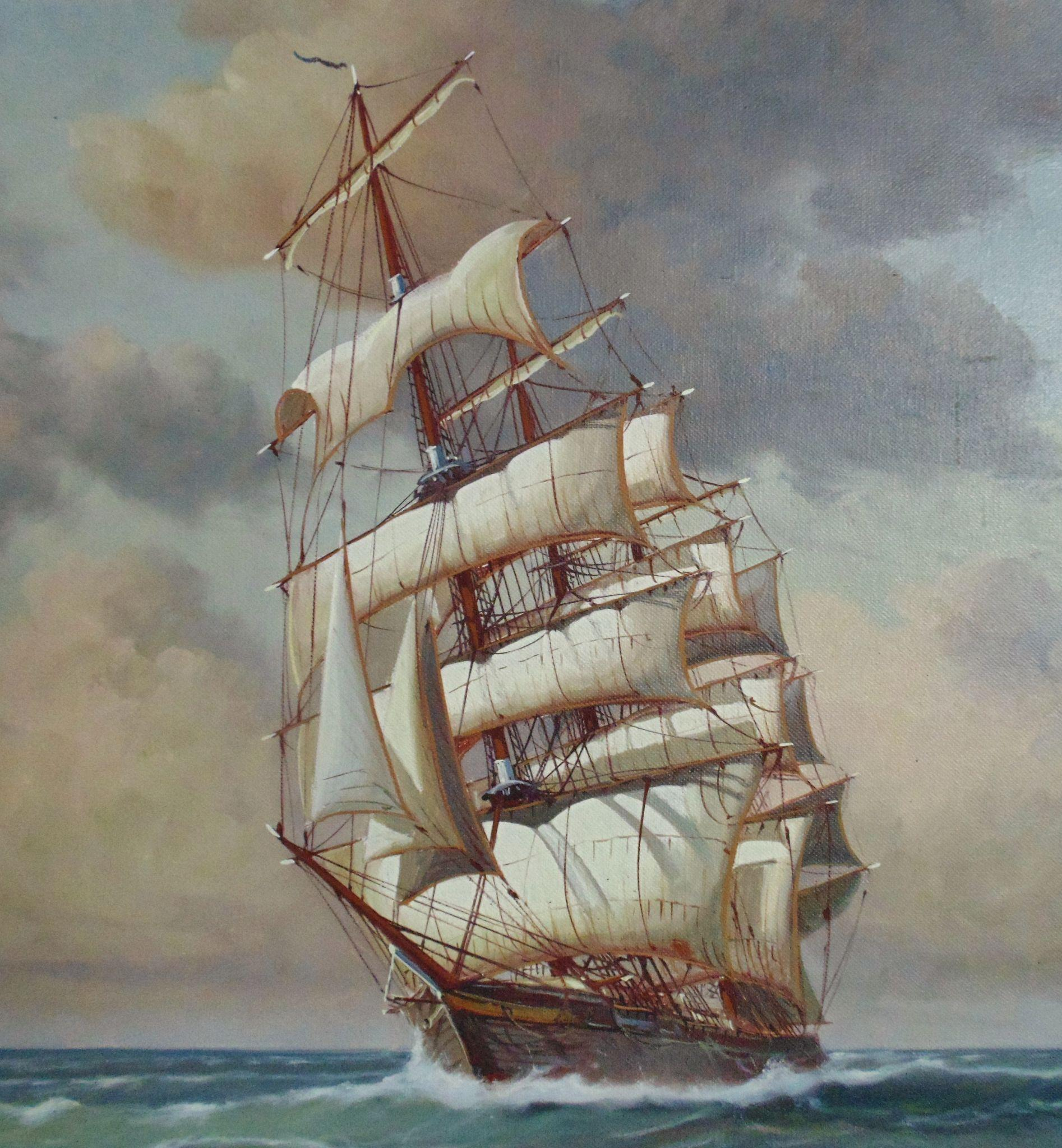 large charles w morgan clipper tall sailing ship painting