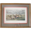 "Antique Victorian Horse Race Steeple Chase Colored Folk Art Engraving c. 1877 ""The Last Fence"" G. C. Hunt & Son Framed Racing"