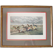 "SALE Antique Victorian Horse Race Steeple Chase Colored Folk Art Engraving c. 1877 ""The L"
