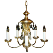 1 of 2 Vintage Nickel Plated 5 Light Chandelier Light Fixture w/ Fancy Cut Glass Prisms