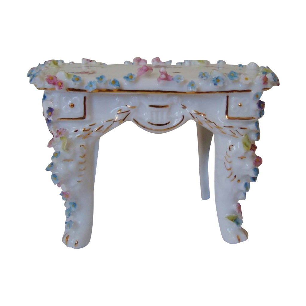 Miniature Doll House Furniture Table Or Desk W Roses
