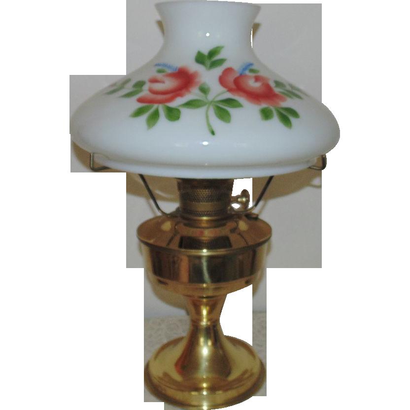 23 aladdin brass lamp oil kerosene w hand painted roses. Black Bedroom Furniture Sets. Home Design Ideas