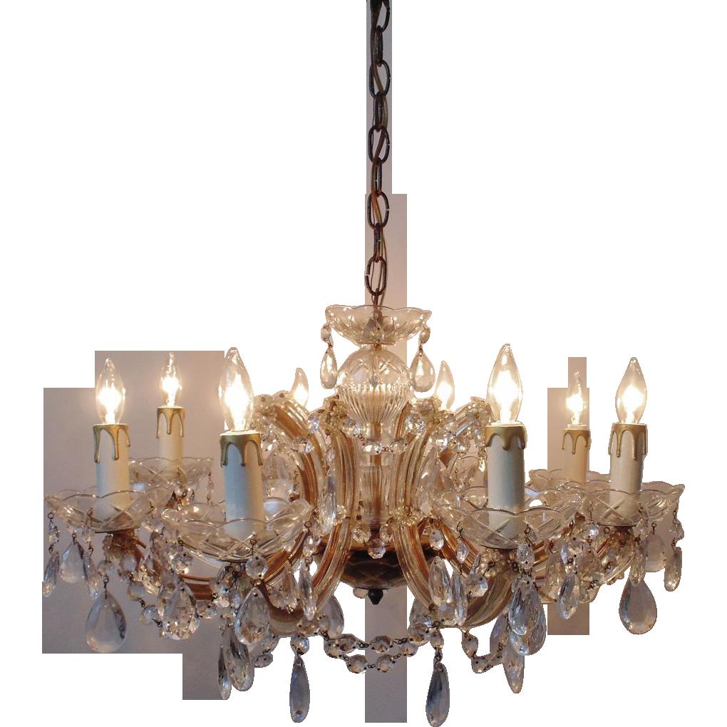 Italian Murano Glass Chandelier W Beads Prisms Venetian