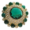 Stunning classic Juliana  large tired brooch green cabachons