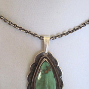 Old Navajo big drop turquoise and coin silver necklace