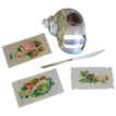 Old carved mother of pearl  pen ink well and calling cards