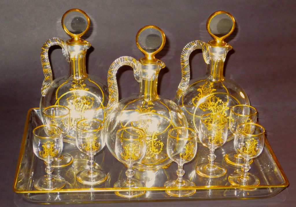 Baccarat for Le Rosey Paris 12 piece Liquor Set w/Gilt & Engraved Monoram