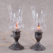 Sterling and Cut Glass Electric Mantle Lamps