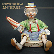Bisque Clown Nodder with Retractable Legs - Signed Ardalt