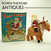 Santa Claus & Reindeer Wind-up Toy - Near Mint in Box