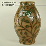 Large Enameled Porcelain Vase with Stylized Birds