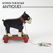 Rare Wood and Tin Boston Terrier Pull-toy with Moving Legs c.1920