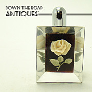 Lucite and Chrome Lighter with Intaglio Cut Rose