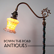 Mosaic Shade Company Floor Lamp with Fostoria Art Glass Shade