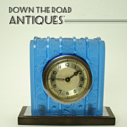 Art Deco Table Clock with Frosted Blue Glass, Bakelite and Chrome - 1920's
