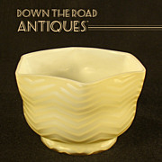 Butterscotch Herringbone Bowl - Satin Glass