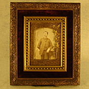 Victorian Ornate Picture Frame with Gentleman's Photo - Velvet Interior