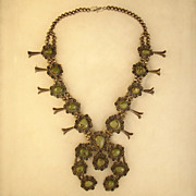 Large Indian Squash Blossom Necklace (Sterling & Turquoise)