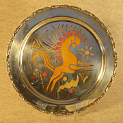 Large Art Deco solid Sterling charger with Horse and Enameling