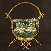 Fabulous Bronze Basket with Enameled Art Glass Insert