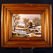 Hand Painted Porcelain Framed Plaque with Winter Scene - Late  1800's