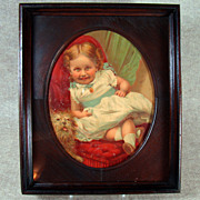 Victorian Walnut Oval Chromolith - Child and Dog