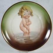 Silesia Transferware Plate - Naked Child in Pond - 1910