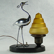 Art Deco Chrome Figural Bird Lamp with Black Base and Stepped Shade