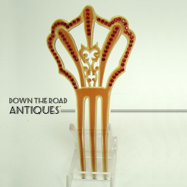 Amber Celluloid Mantilla Hair Comb