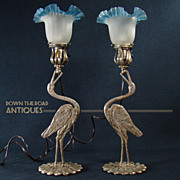 Art Deco Egret Mantle Lamps (Pair)