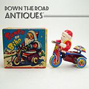Celluloid and Tin Santa Claus on Tricycle Toy - MIB