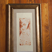 Lovely European Art Deco Sepia Nude Signed Etching, c. 1925