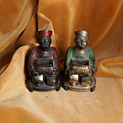 PAIR of Ornate Art Deco Oriental Men Incense Burners