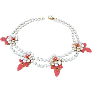 OLD Miriam Haskell Creamy Baroque  Costume Pearl Necklace, Floral Starburst Centerpiece, c 195