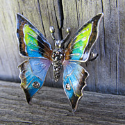 SALE Alice Caviness Sterling Silver Enameled Butterfly Brooch