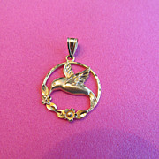14K Yellow Gold Michael Anthony Hummingbird Estate Pendant